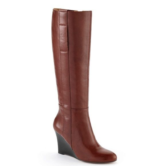 Nine West wedge bootsale Brown wedge boot NWB pics from bon ton Nine West Shoes Heeled Boots