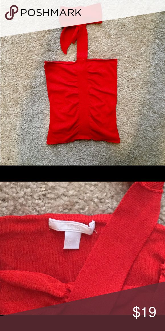 Red Hot Mango Top! Sexy bright red top purchased in Spain at Mango Beautiful fabric Size XS Mango Tops Tank Tops