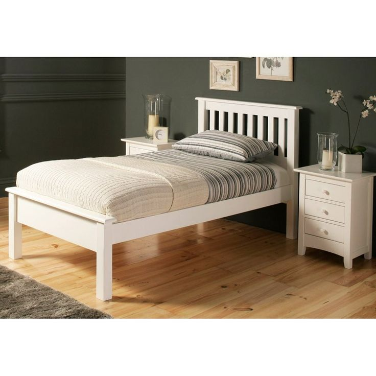 Łóżko białe drewniane - Arabis