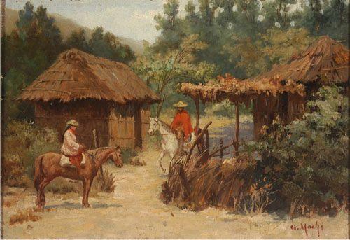 Campesinos Chilenos,  Oleo sobre Tela 24 x 35 cm Museo Nacional de Bellas Artes, Santiago, Chile