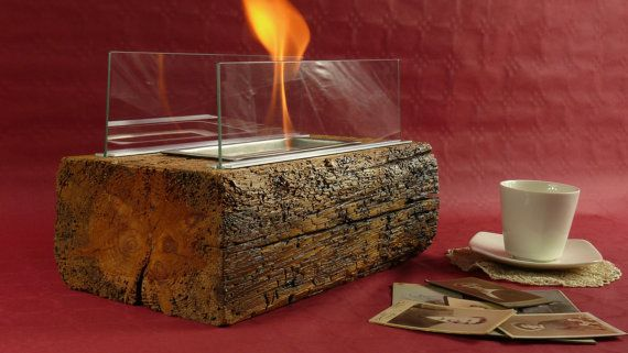 Rustic fireplace. Reclaimed wood fireplace. Fuel fireplace. Glass fireplace. Indoor lantern. Bioethanol fireplace. Tabletop fireplace