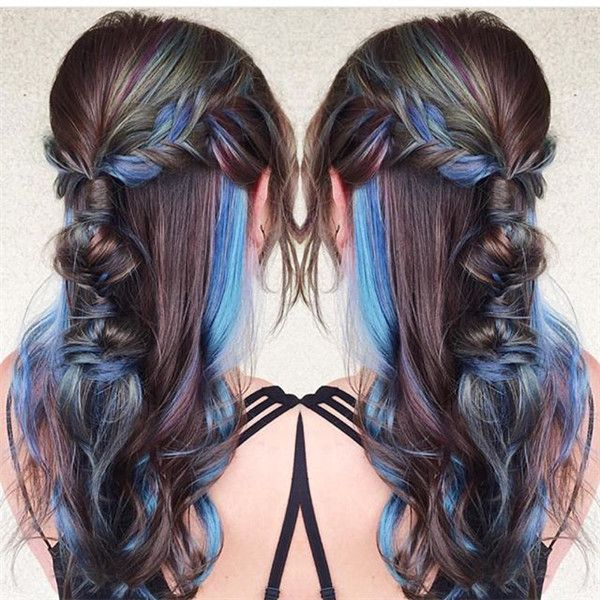 Blue and green highlight, creating your nice Galaxy Hairstyle