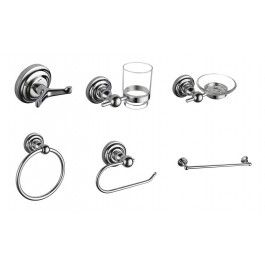 Traditional design is the name of the game with this brand new 6 piece Regent Bathroom Accessories set. Made with high quality materials - this set is made up of robust long lasting pieces. The set comprises of Robe Hook, Toothbrush Holder and Glass, Soap Dish, Toilet Roll Holder, Towel Holder and Towel Rail.