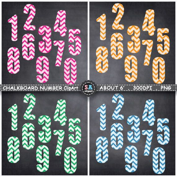 """Chalkboard Numbers Clipart  """"CHALKBOARD NUMBERS """"clipart,Chevron Number,Number ClipArt,Letter ClipArt,Birthday,Party,Instant Download Ca051 by SAClipArt on Etsy"""
