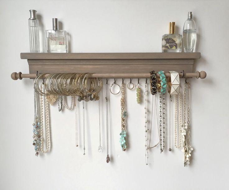 Jewelry Organizer - Hanging Jewelry Shelf - Hanging Jewelry Storage by TimberRidgeShop on Etsy https://www.etsy.com/listing/251880290/jewelry-organizer-hanging-jewelry-shelf