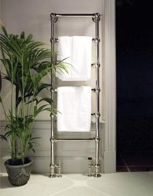 Tall dual heated towel rail - period bathroom