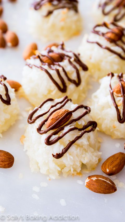 Almond Joy Macaroons - chewy, moist, chocolate! Get the easy recipe at sallysbakingaddiction.com