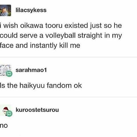Is the haikyuu fandom ok?  Oikawa Tooru || Haikyuu