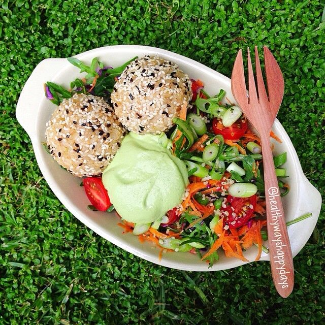Sesame Rice Balls with Lemon Avocado Cream + Salad Brown Rice | EVOO ...