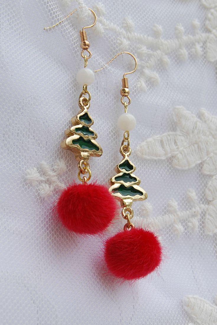 Xmas Tree Earrings, Christmas Tree Earrings, Festive Earrings, Winter Earrings, Holiday earrings,  Pom Pom Earrings, Red and green Earrings,  Secret Santa Gift, Stocking Stuffer, Teens Gift, Green Earrings, Red Earrings, Long Earrings Dangle