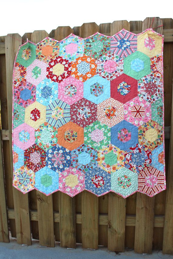 Baby Quilt / Quilts for Girls / Custom Quilts for Sale / Crib Bedding / Vintage Style / Hexagon Quilt / Kids Toddler Quilts / Made to Order
