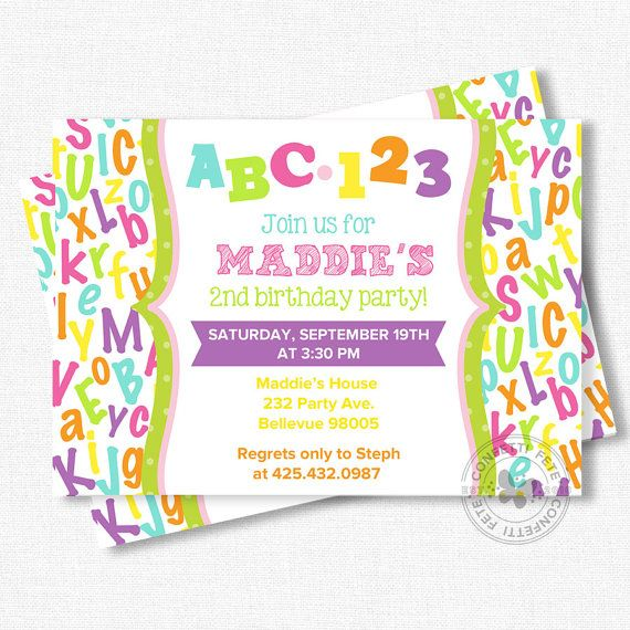 ABC Birthday Invitation Alphabet Birthday by ConfettiFete on Etsy