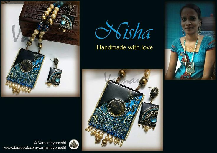 This set will be more of a personal attachment for me since it was made for my really close friend, Nisha. And a special addition, my assistant Eshwari posing for this set :) Code name: Nisha Handcrafted paper based pendant with cabochon work, muck work and the antique finish in a different color combo. #handcrafted #paperbase #handmadejewelry #cabochon #antiquefinish #nisha #varnambypreethi #chennai #jewelry #accessories #resincasted