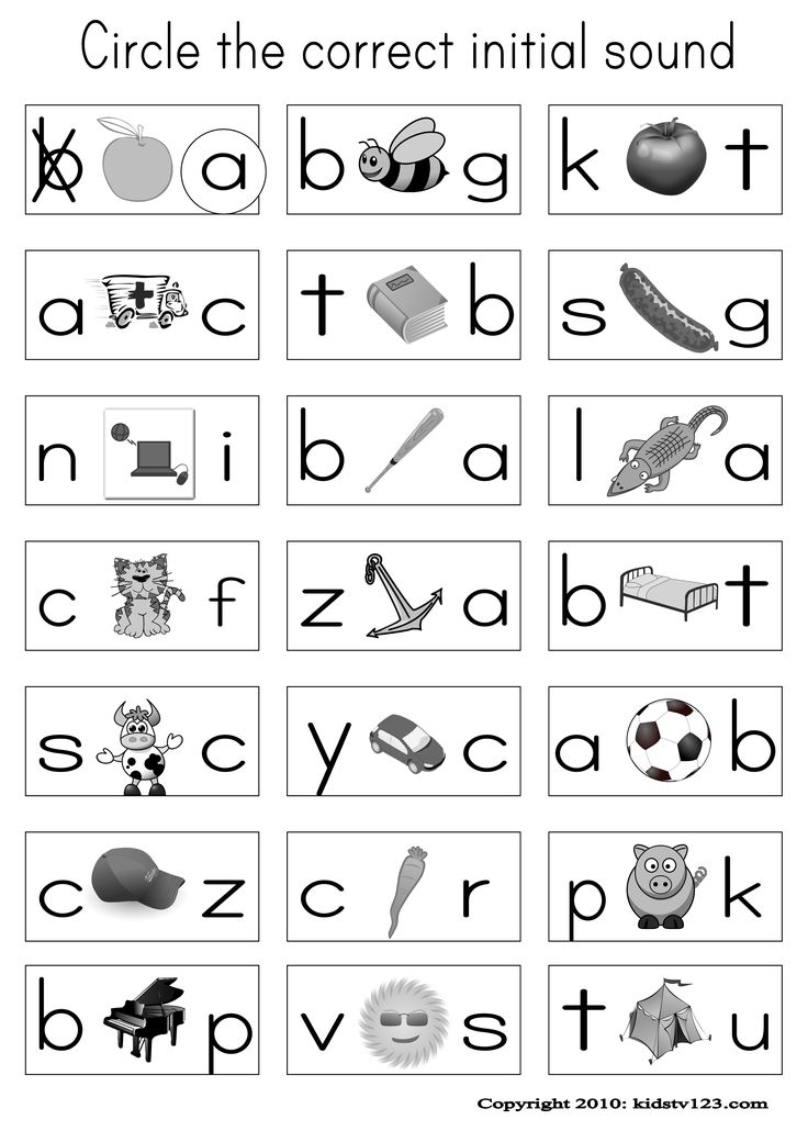"Alphabet & Phonics Worksheets: ""Circle the correct initial sound"""