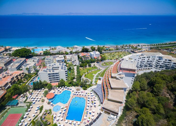 Aerial photo of Ixia in front of Olympic Palace Hotel, Rhodes, Greece