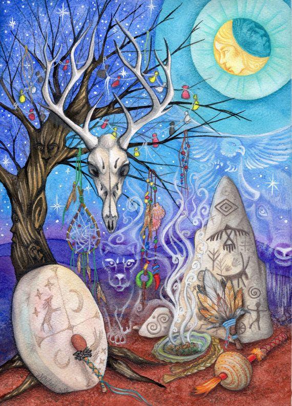 Spirit Shaman - Shamanic Illustration - Spirit Guides - Shamanic Ritual - Print from Original Painting