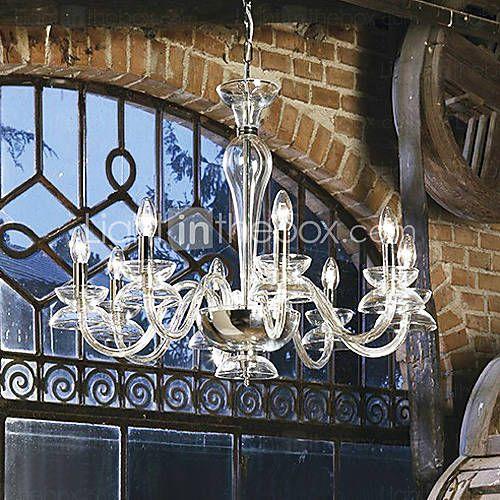 moderne kaars kristallen kroonluchters uitgerust met 8 lampen transparante kleur…