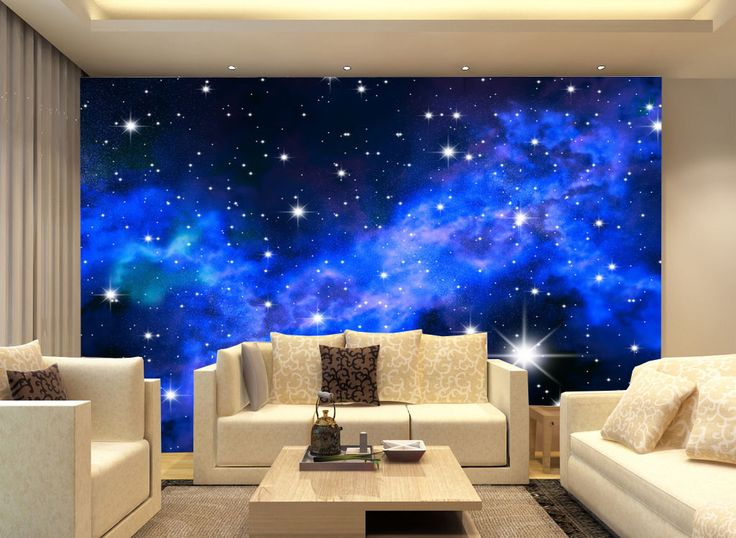 3d Blue Star Galaxy A Wall Paper Wall Print Decal Wall Deco Indoor Wall Mural Paper Blue And