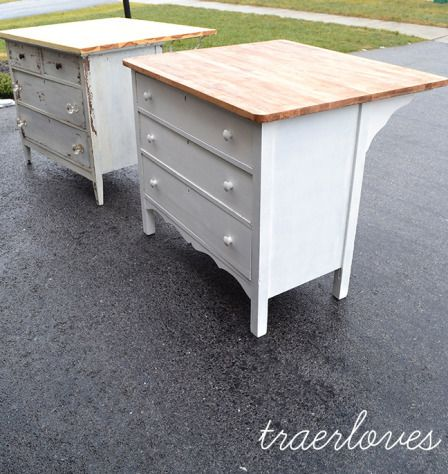 old drawers with new top as kitchen islands or art work bench, great idea!