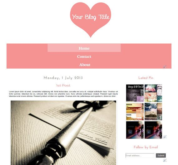 ON Sale 80 Off  Lovely Heart  Blogger Template  by Symufathemes, $5.00