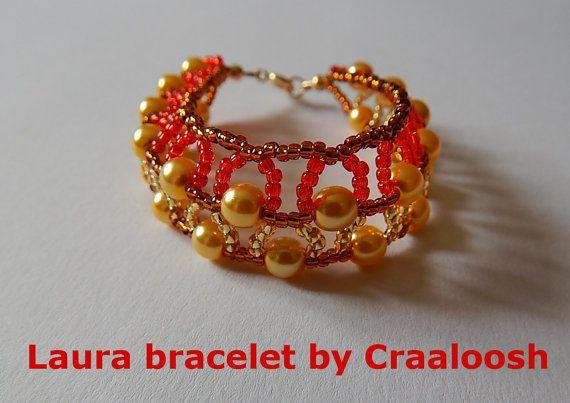 LAURA gold-brown-red beaded  Bracelet by Craaloosh. by Craaloosh