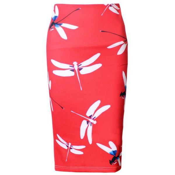 Dragonfly Printed Slit Pencil Midi Skirt (£20) ❤ liked on Polyvore featuring skirts, slit midi skirt, mid calf skirts, mid calf pencil skirts, red pencil skirt and pencil skirt