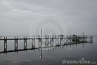 One of many boat docks and fishing piers lining Indian River Lagoon in Sebastian, Florida.