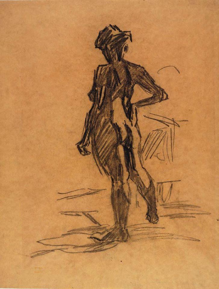 Nudo femminile di spalle con la mano destra poggiata sull'anca (Fritz Bleyl, 1905-1906)