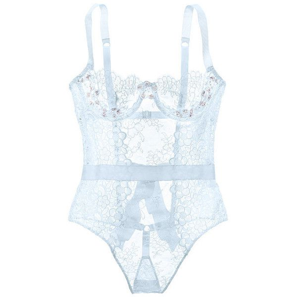 Victoria's Secret Embellished Unlined Lace Teddy (1.010 BRL) ❤ liked on Polyvore featuring intimates, lingerie, blue lace lingerie, lace underwire bra, teddy lingerie, victoria secret lingerie and lace lingerie