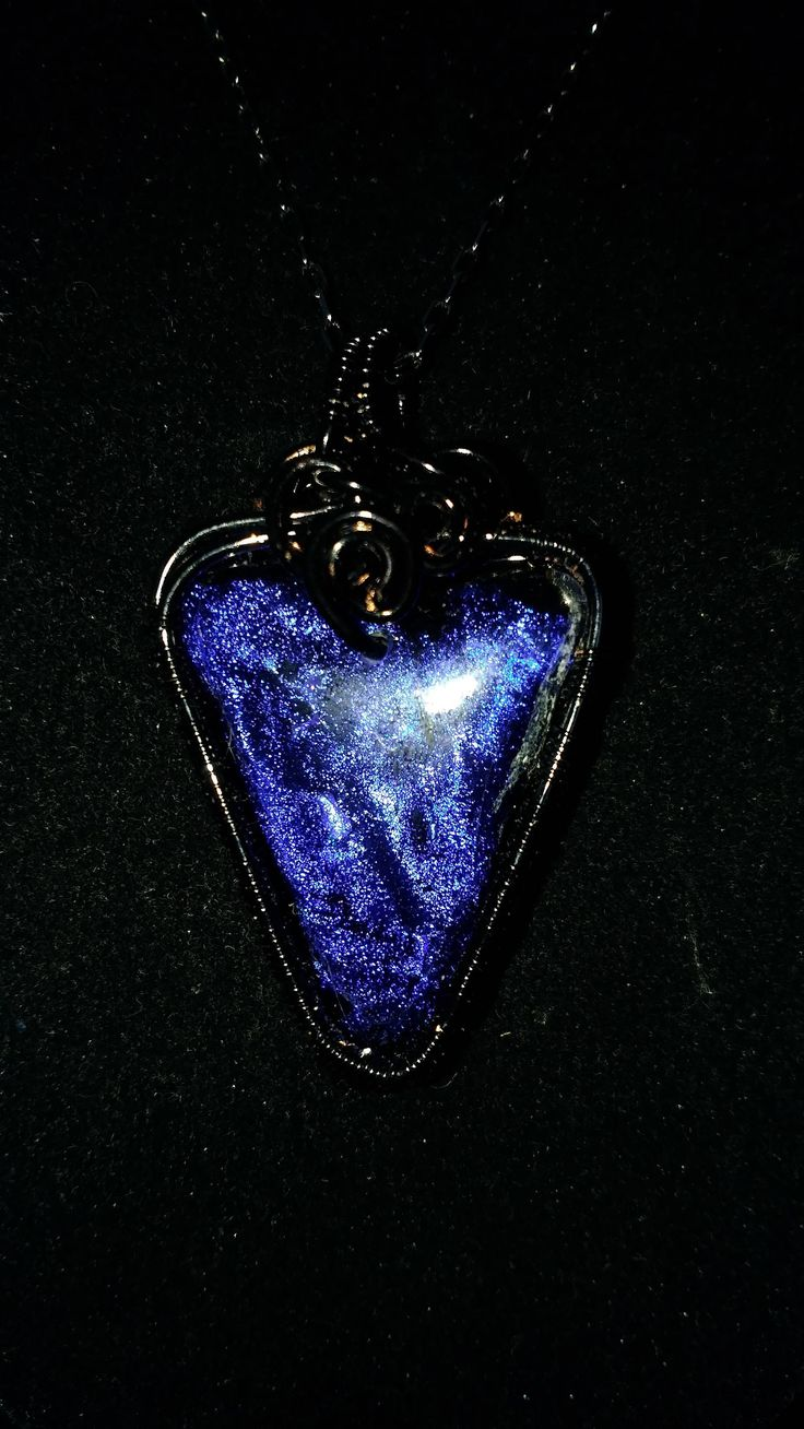 Wire wrapped dichrotic glass pendant. Shop for 15% off holiday sale at  Www.etsy.com/shops/katiescave for one of a kind jewelry, coin rings, and more.