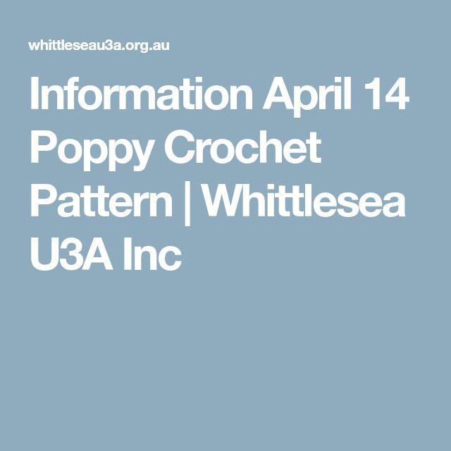 Information April 14 Poppy Crochet Pattern | Whittlesea U3A Inc