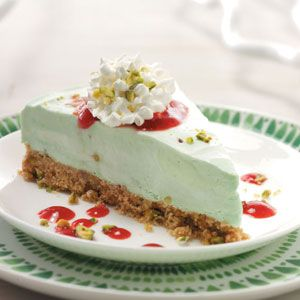 Frozen Pistachio Dessert with Raspberry Sauce from Taste of Home -- shared by Suzette Jury of Keene, California