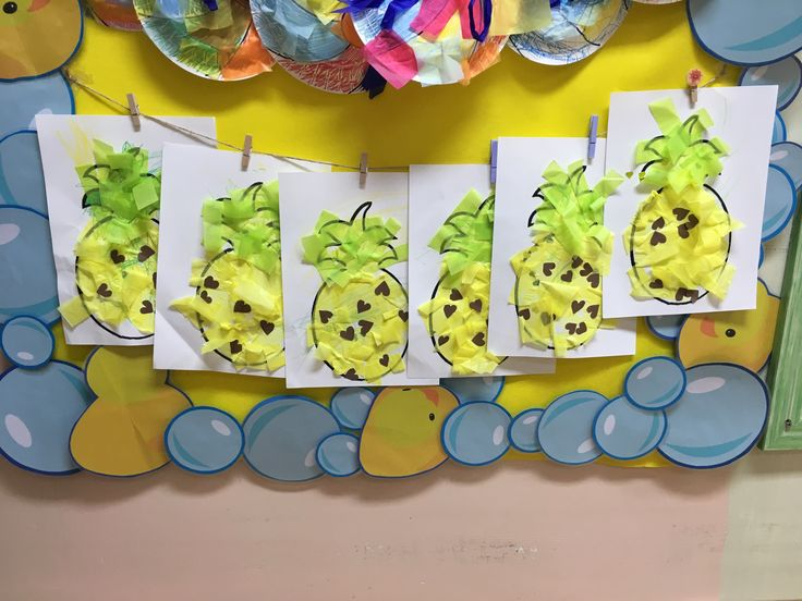 Today we made these sweet little pineapples! I think the hearts make them look extra cute! You may need: White construction paper (background) Yellow and green tissue paper Brown paper cut into sma…