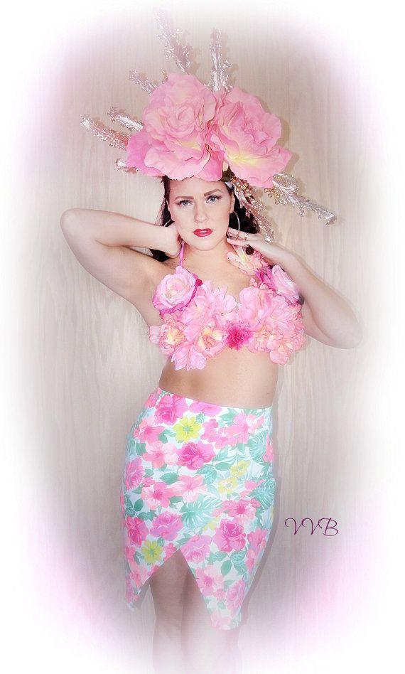 casco de moda tropical flor rosa y tapa que empareja couture floral tocado corona de