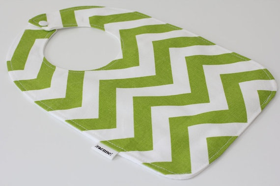 Bib for Baby  Chevron Green & White by raenne on Etsy, $8.00