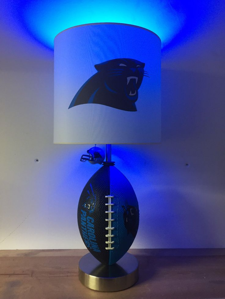 NFL Carolina Panthers Football Lamp, man cave, sports lamp, kids night light, table lamp by CaliradoArt on Etsy https://www.etsy.com/listing/511159237/nfl-carolina-panthers-football-lamp-man