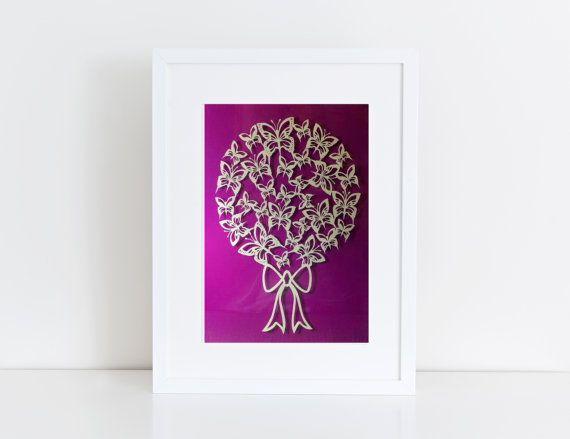Butterfly Bouquet Handcut Paper Design / Papercut / Paper Cut Art / Home Decor / Wall Art