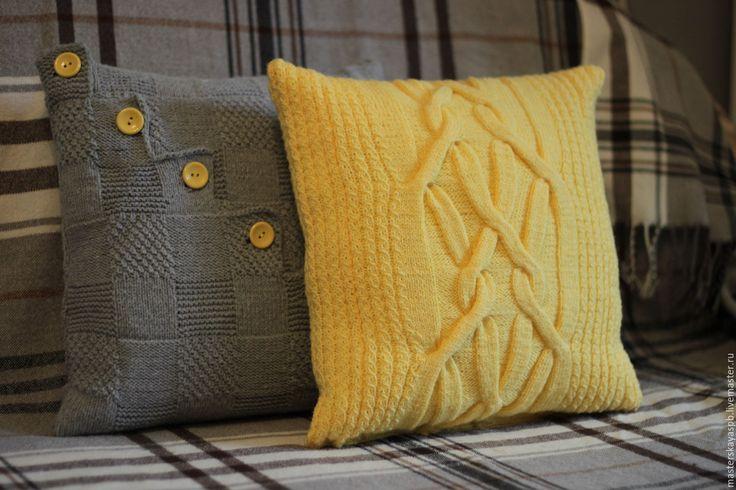 """Купить Комплект подушек """"Kiss the sun"""" - желтый, серый цвет, Подушки, подушки…"""