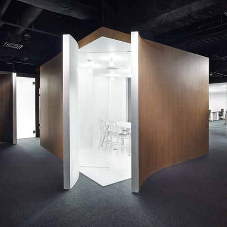The Spicebox Office in Japan | designed by Nendo, has walls that peel back to reveal boxy meeting rooms.