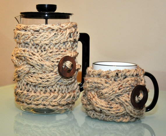 .Coffee Cozy French Press Mug Set CHOOSE COLOR Coffee Cup Sleeve Oatmeal Beige Wheat Acorn Camel Linen Birch Eco Neutral Nature $29.99