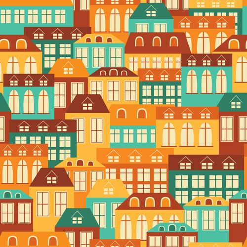 vintage house seamless pattern vector