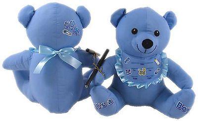 Signature /Message / Autograph Blue Baby Boy 28 cm Bear with Pen