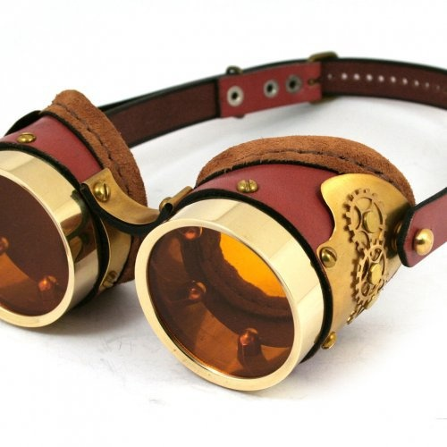 STEAMPUNK GOGGLES made of solid brass rusty brown leather gear   mann_and_co - Accessories on ArtFire