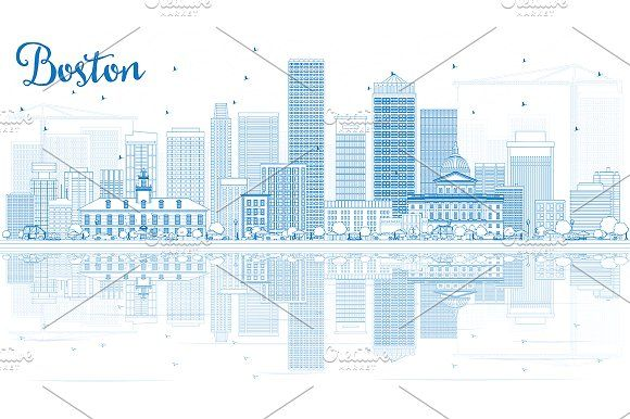 #Outline #Boston #Skyline by Igor Sorokin on @creativemarket