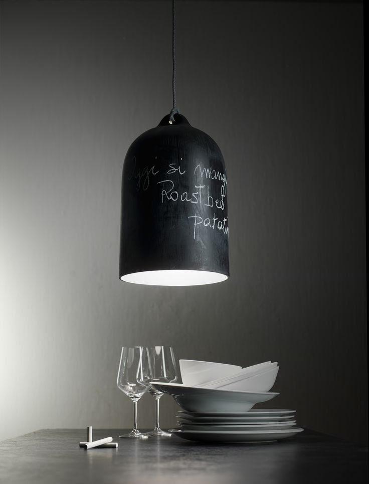 Have fun writing! The blackboard finish allows you to customise the look writing or drawing on it with chalk.  www.creative-cables.com IT: www.creative-cables.it #homedecor #design #lighting #eclairage #beleuchtung #style #fashion #trends #maison #illuminazione #diy #casa