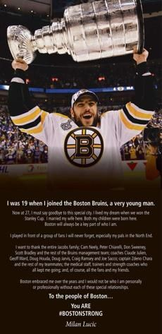 Milan Lucic says good-bye to Boston in a fuel page ad in the Boston Globe.