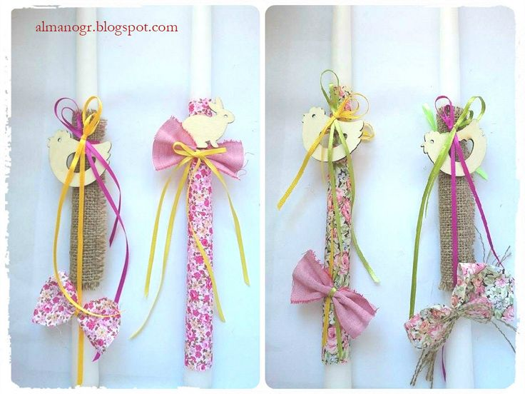Easter candle with floral fabric or burlap, wooden decorative and fabric bows