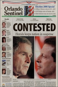 Orlando Sentinel, Nov. 8, 2000  - Bush vs. Gore newspaper headline - In light of the reporting error from CNN's website on the recent Supreme Court ruling we look back on when newspapers get it wrong.