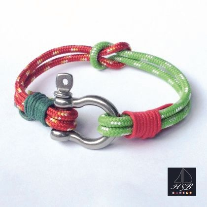 Red and green paracord bracelet with red and green line and stainless steel shackle - 45 RON