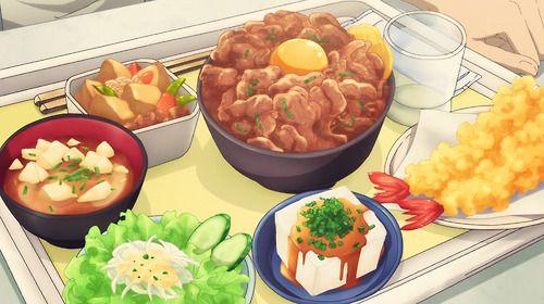 Vassoio mensa con tante portate di carne, pesce fritto, zuppa, verdura